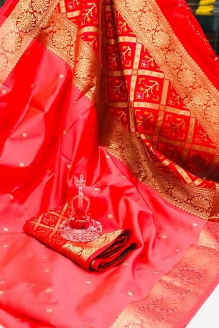 Peach Soft Banarasi Cotton Silk Saree - gnp007996