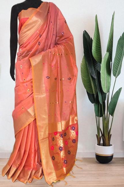 Peach Soft Handloom Cotton Weaving Saree - gnp008046