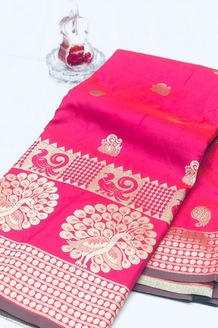 Pink Banarasi Silk Golden Zari Weaving Saree - gnp007946