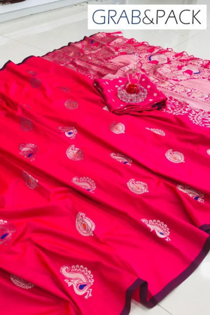Pink Banarasi silk sarees online with price