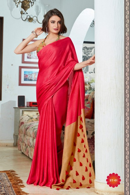 Pink Color Cotton Silk Saree with Fancy Tassels & Digital Printed Blouse - gnp006535