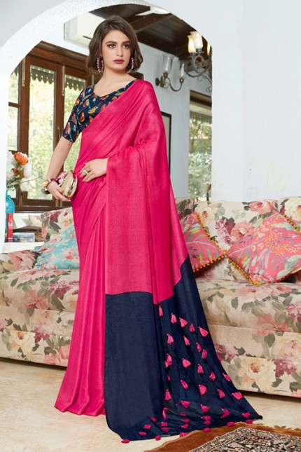 Pink Color Cotton Silk Saree with Fancy Tassels & Digital Printed Blouse - gnp006538