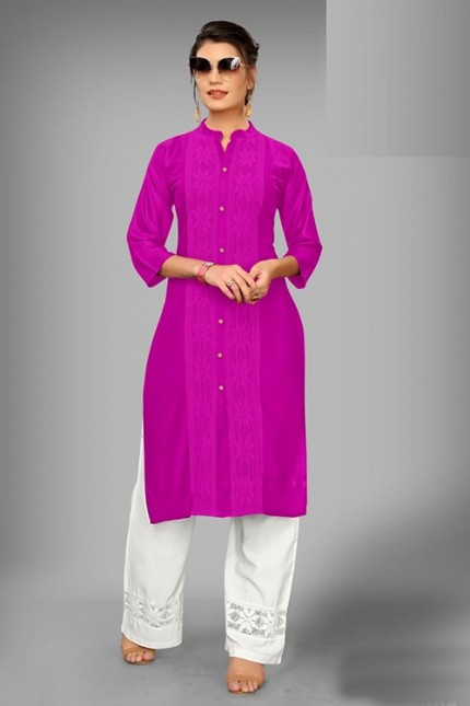 Pink Colored Rayon Kurti With Palazzo - gnp006527
