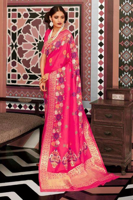 Pink Pure Silk Weaving silk Saree - gnp007630