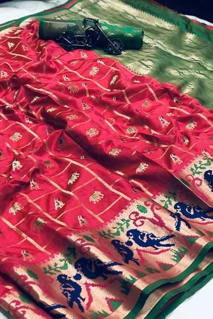 Pink saree Online - Soft Banarasi silk woven saree gnp007303 - GrabandPack