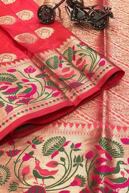 Pink Silk Banarasi Handloom Saree - gnp006427