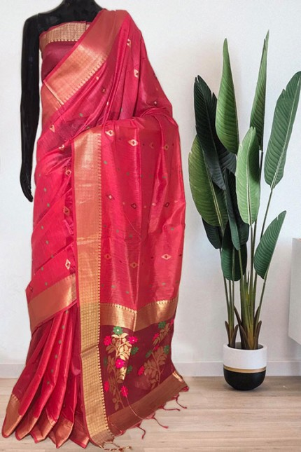 Pink Soft Handloom Cotton Weaving Saree - gnp008047