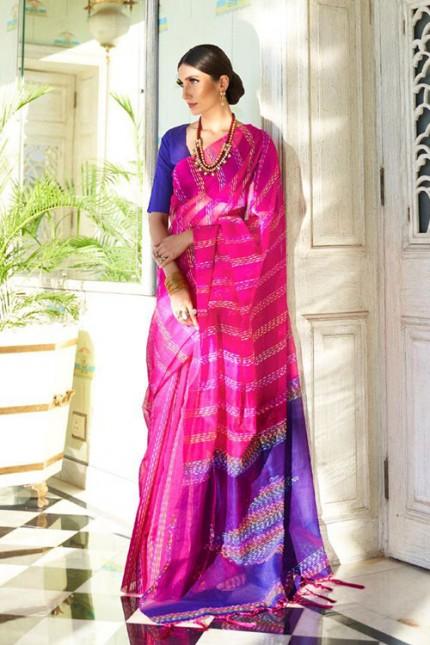 Pink Soft Handloom Weaving Silk Saree with Dhaga Work - gnp007289