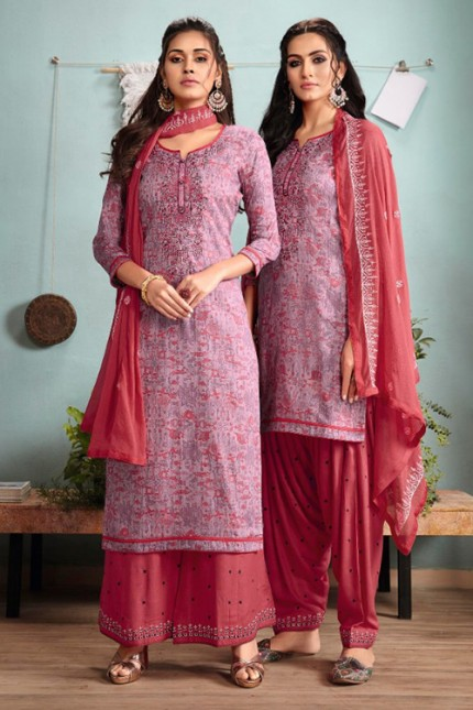 Pink Un-Stitched Cotton Satin Suit with Dupatta - gnp007016