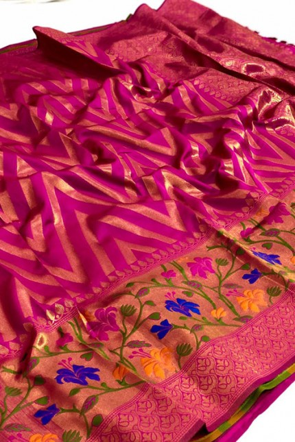 Pure Jacquard fabrics with Resham zari work with vibrant Two colours - gnp007194