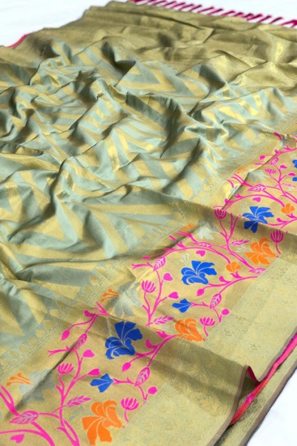 Pure Jacquard fabrics with Resham zari work with vibrant Two colours - gnp007195