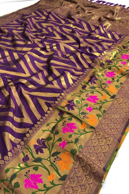 Pure Jacquard fabrics with Resham zari work with vibrant Two colours - gnp007196