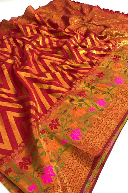 Pure Jacquard fabrics with Resham zari work with vibrant Two colours - gnp007197