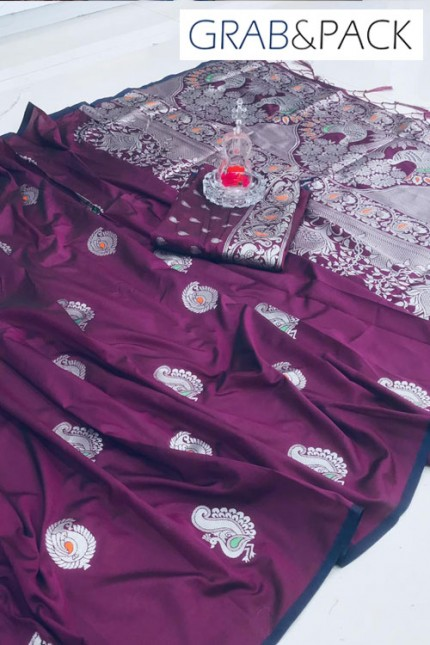Banarasi silk saree online in Purple
