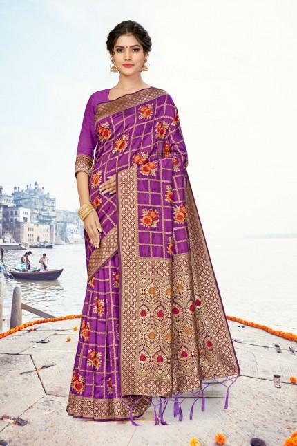 Purple Coloured banarasi silk saree gnp007866 - banarsi saree look