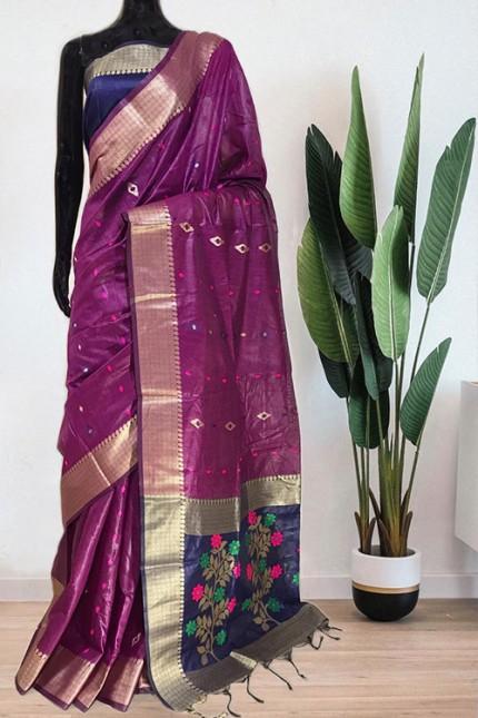 Purple Soft Handloom Cotton Weaving Saree - gnp008048