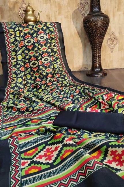 Raw Silk Saree Ikkat Printed All Over - gnp007930