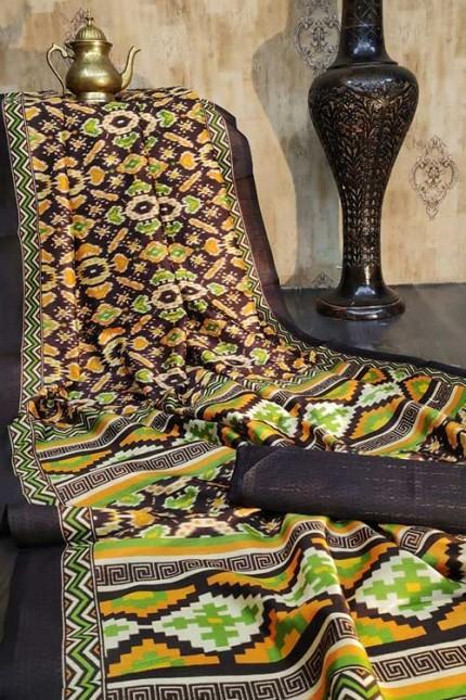 Raw Silk Saree Ikkat Printed All Over - gnp007931