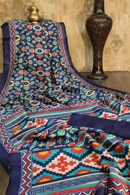 Raw Silk Saree Ikkat Printed All Over - gnp007933