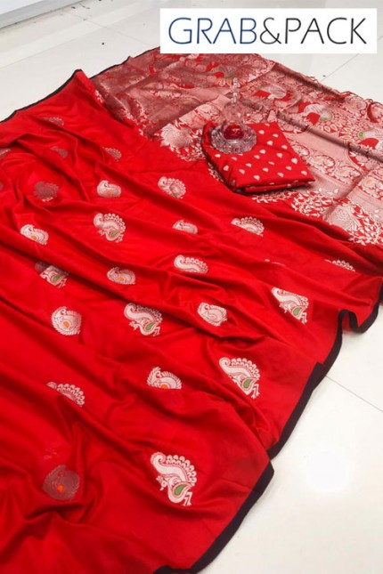 Banarasi silk saree online in Red