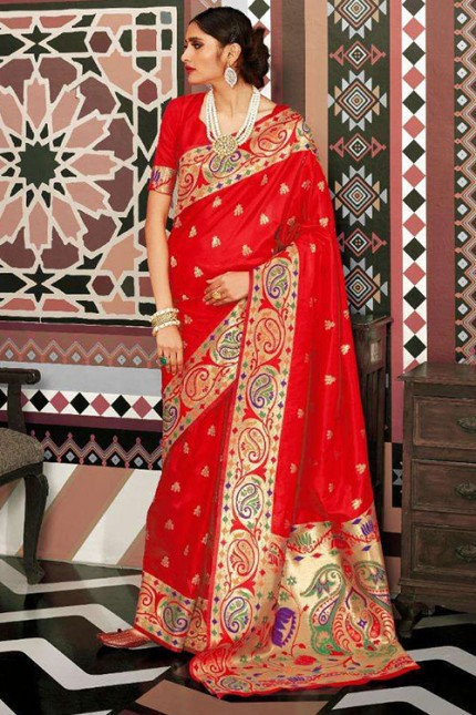 Red Pure Silk Weaving silk Saree - gnp007628