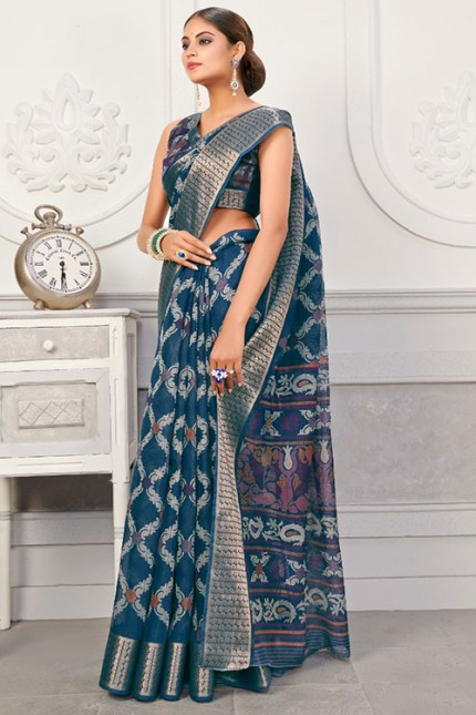 Sea Green Colored Cotton Silk Saree with Jaquard Patta - gnp007100