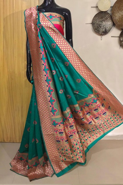 Sea Green Exclusive Meenakari Contrast Border Saree - gnp008041