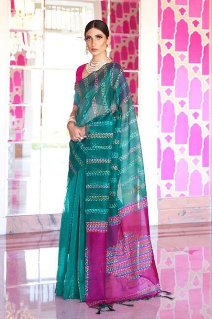 Sea Green Soft Handloom Weaving Silk Saree with Dhaga Work - gnp007292