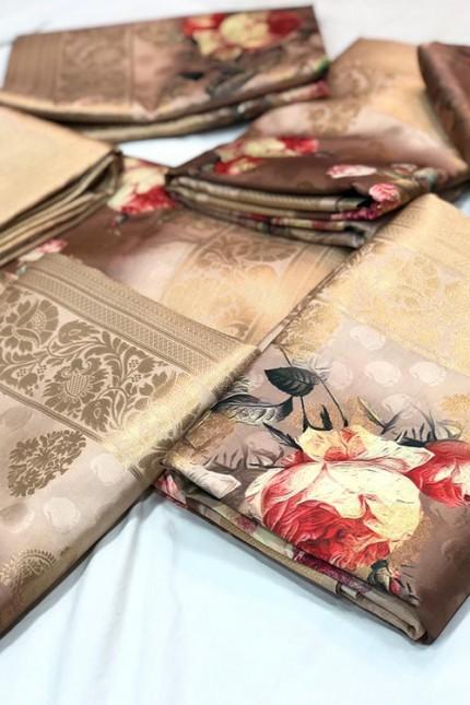 Shaded Brown Jacquard Digital Floral Printed Saree - gnp006690