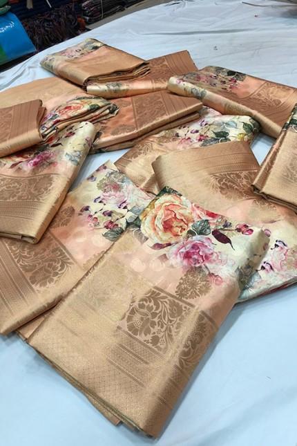 Shaded Peach Jacquard Digital Floral Printed Saree - gnp006693
