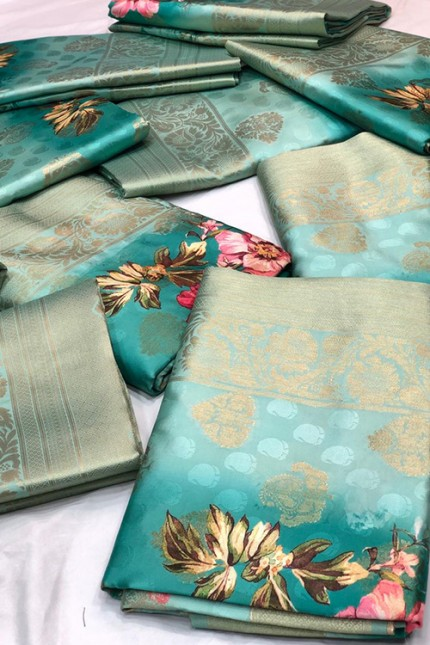 Shaded Sea-Green Jacquard Digital Floral Printed Saree - gnp006692
