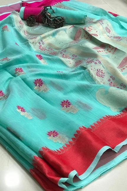 Silk Linen Saree in Sky With Beautiful Weaving - gnp006419