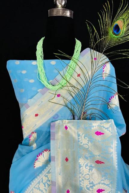 Silk Linen Saree in Sky With Beautiful Weaving - gnp006464