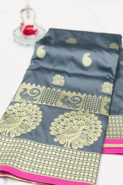 Silver Banarasi Silk Golden Zari Weaving Saree - gnp007950