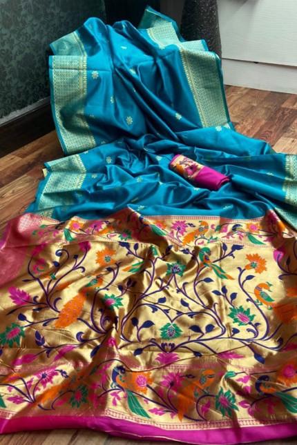 Sky Blue coloured Banarasi Silk Paithani style saree gnp006274