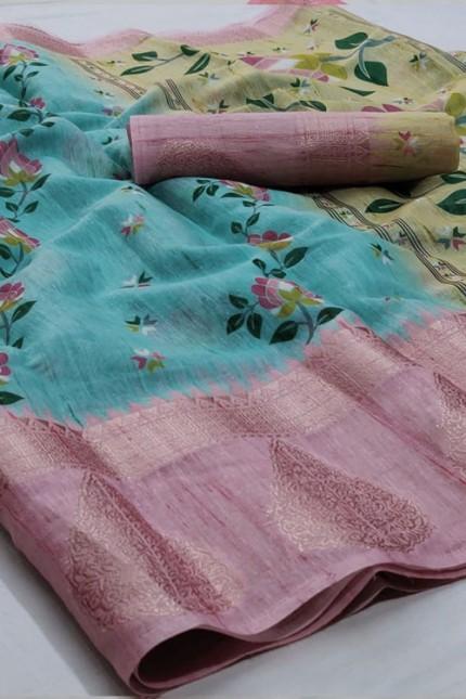 Sky Floral Digital Printed Linen Saree with Jacquard Border - gnp006662