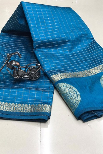 Sky Linen cotton Chex saree with zari Work - gnp00636