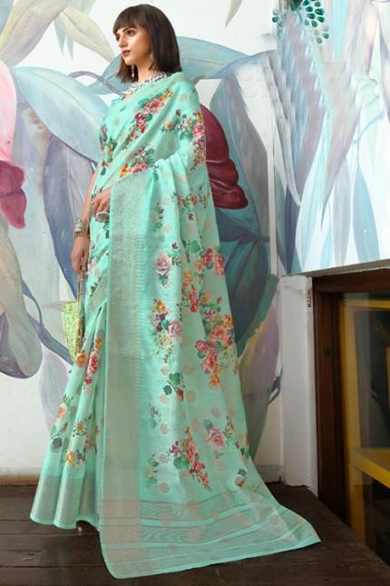 Sky Women's Pure Cotton Silk With Jacquard Weaving Saree - gnp007498