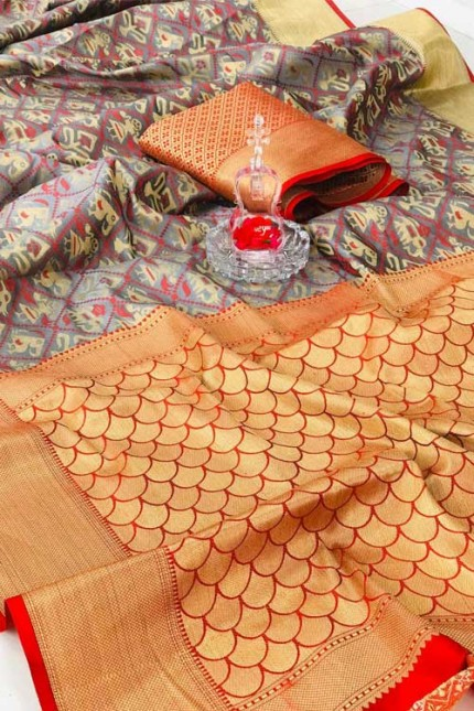 soft Banarasi Patola silk Saree with reach Pallu and Weaving Blouse gnp007293 - silk sarees online shopping india
