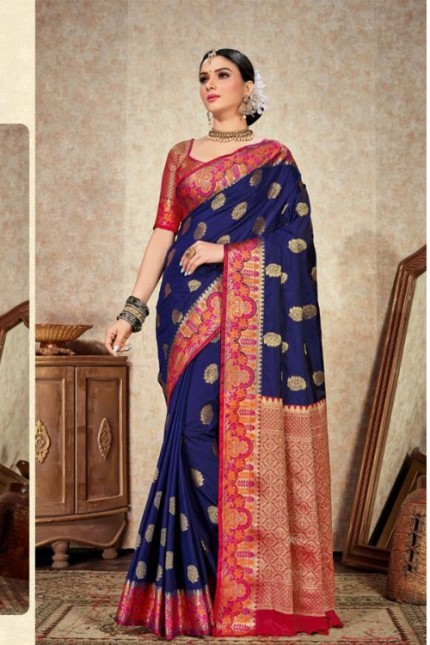 Soft Silk Weaving saree with Designer Border & Rich Pallu (Blue) gnp006286 (Saree)