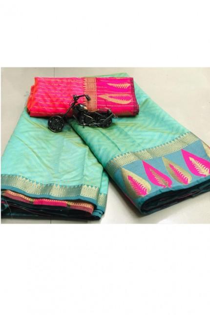 Soft Cotton saree online with weaving border n weaving blouse (Sky Blue) gnp006930