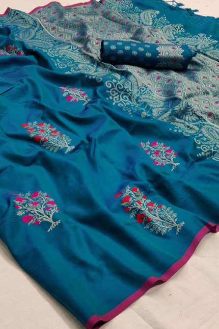 Traditional Sea Green Colored Wedding Soft Silk Saree - gnp006860