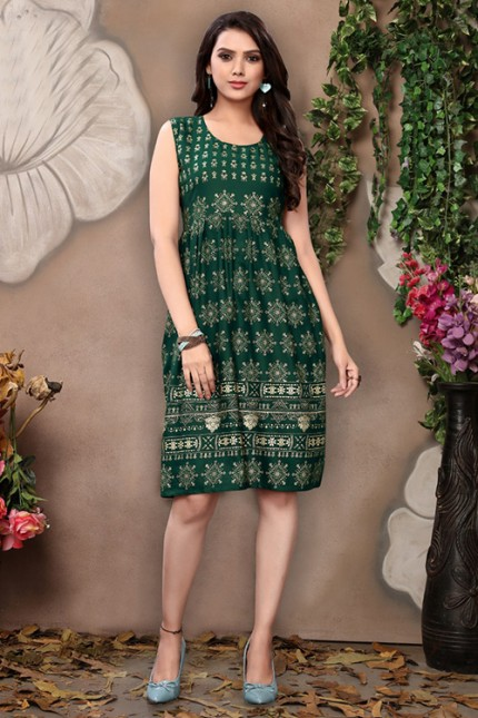 Women's Green Colored Rayon Printed Pleated Kurti - gnp006684