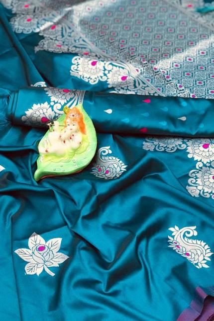 Women's Latest Designer Sky Colored Lichi Silk Saree with Silver Zari - gnp007026