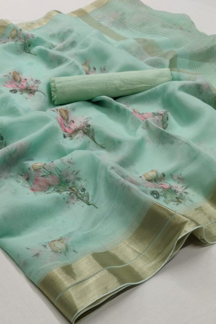 Women's Beautiful Branded soft Organza Silk Printed Saree online india gnp006374 - Grabandpack.com