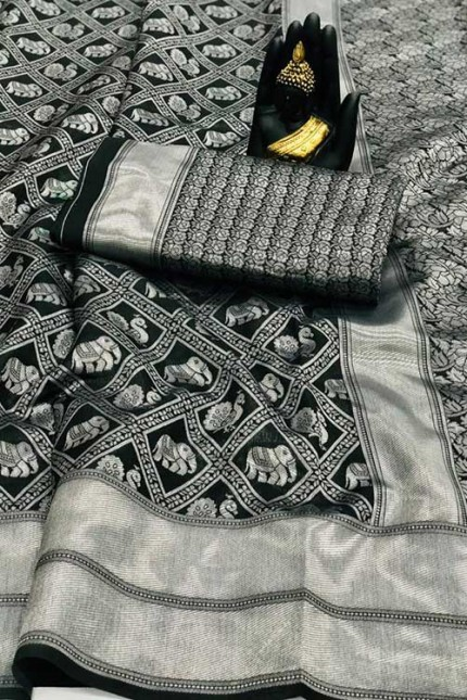 Women's Banarasi silk Weaving saree in Black - gnp007651