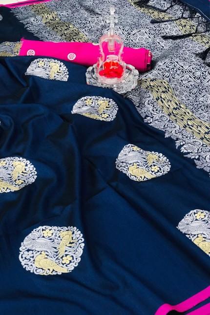 Women's Banarasi silk Weaving saree in Blue gnp007271