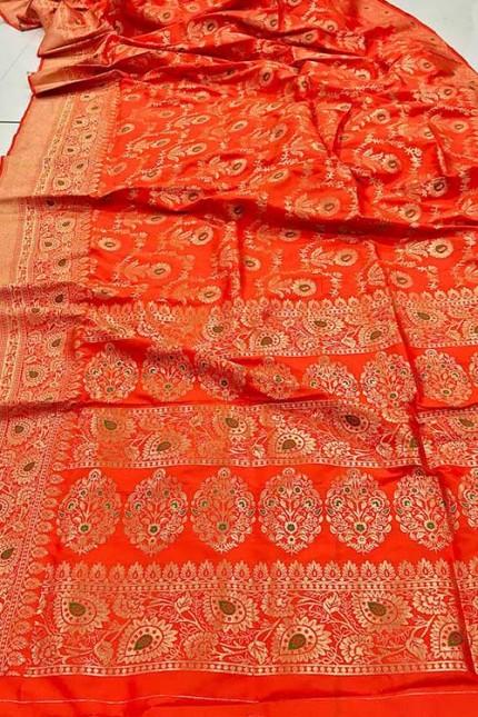 Women's Banarasi silk Weaving saree in Orange gnp007354