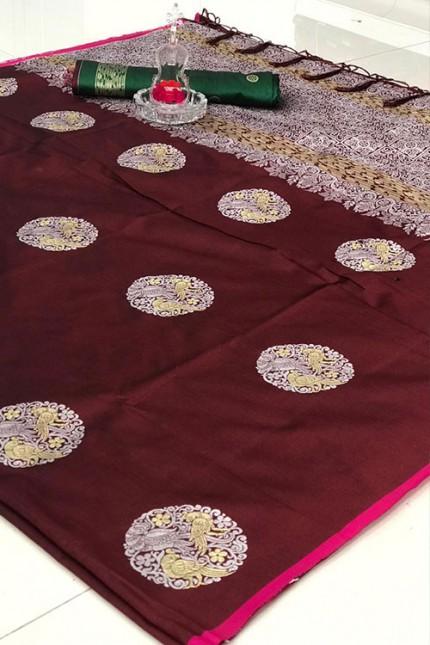 Women's Banarasi silk Weaving saree in Brown gnp007272
