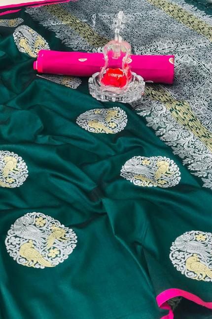 Women's Banarasi silk Weaving saree in Green gnp007274